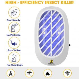 HENSITA Electronic Bug Zapper- Indoor Insect Trap for Mosquitoes, Fruit Flies and Flying Gnats – Fly and Insect Zapper for Indoor and Outdoor with UV Light – Eco-Friendly Insect Killer (2 Pack). White