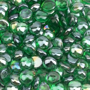 [18 Pound] Fire Glass Beads Fireglass Drops for Gas Fire Pit Fireplace Jade Green Luster Reflective Decorative Glass Gems Rocks Pebbles Stone for Fish Tank Vase Fillers Aquarium Decoration (Green)