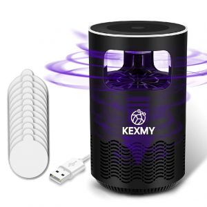 KEXMY Mosquito Trap – Mosquito Killer Lamp- Fly Catcher- Electric Fly Swatter- Mosquito Repellent Lamp- Fruit Flies Insect Killer- Blue Light Insect Trap – Bug Killer with 12 Sticky Glue Boards