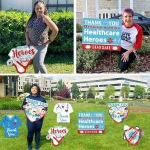 Huray Rayho Party Thank You Healthcare Workers Yard Signs Front Garden Lawn Boards Quarantine Medical Staff Appreciation Indoor/Outdoor Social Distance Decorations (8 Pack)